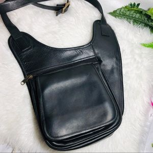 Beautiful crossbody flat black leather purse